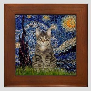 Starry Night & Tiger Cat Framed Tile