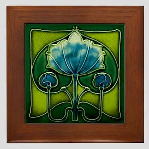 Framed Tile With Art Nouveau Blue Floral Form