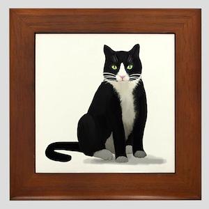 Black and White Tuxedo Cat Framed Tile