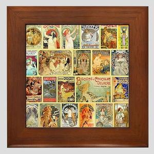 Art Nouveau Advertisements Collage Framed Tile