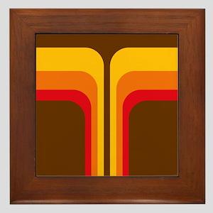 Retro Geometric Brown Framed Tile