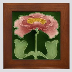 Framed Tile With Art Nouveau Pink Peony