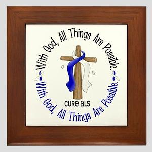 With God Cross ALS Framed Tile