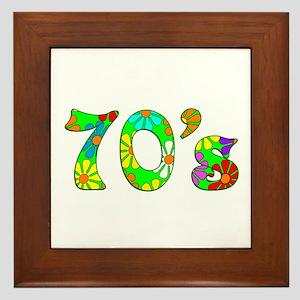 70's Flowers Framed Tile
