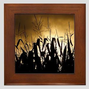 Corn field silhouettes Framed Tile