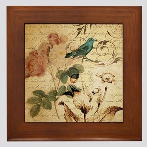 teal bird vintage roses swirls botanic Framed Tile