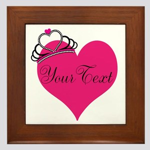 Personalizable Pink Heart with Crown Framed Tile