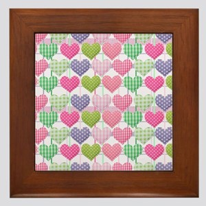 Gingham Hearts Pastel Pattern Framed Tile
