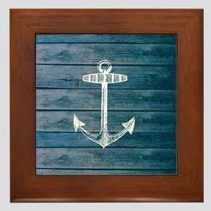 Anchor on Blue faux wood graphic Framed Tile