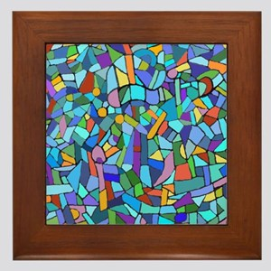 Blue abstract mosaic Framed Tile