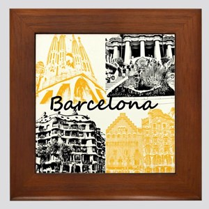 Barcelona_10x10_apparel_AntoniGaudí_B Framed Tile