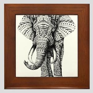 Paisley Elephant Framed Tile