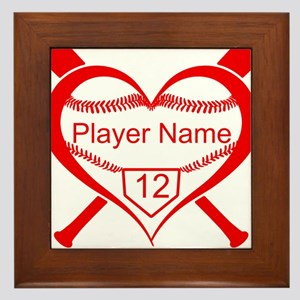 Personalized Baseball Player Heart Framed Tile