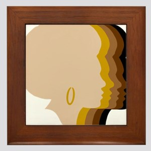 Women Afro Five Tones Framed Tile