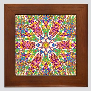 Abstract Psychedelic Kaleidoscope (79) Framed Tile