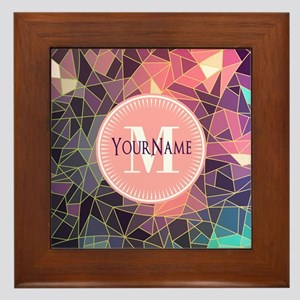 Colorful Mosaic Pattern Personalized Framed Tile