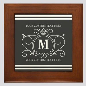 Gray Victorian Stripes Personalized Framed Tile