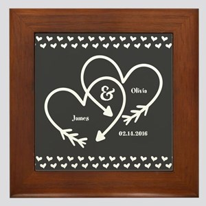 Mr. and Mrs. Wedding Customizable Gray Framed Tile