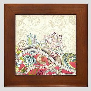 Abstract Floral Framed Tile