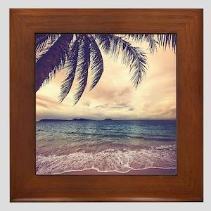 Tropical Beach Framed Tile