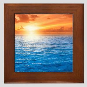 Ocean Sunset Framed Tile