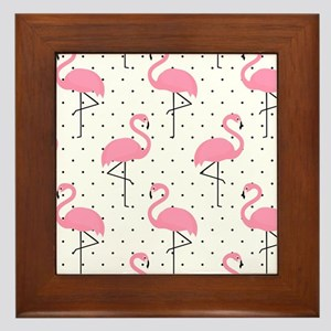 Cute Flamingo Framed Tile