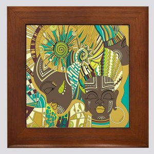 African Woman Framed Tile