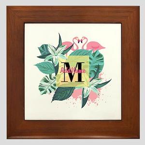 Personalized Flamingo Monogrammed Framed Tile
