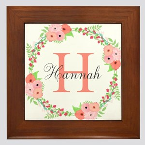 Watercolor Floral Wreath Monogram Framed Tile