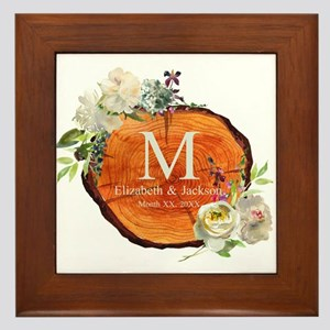 Floral Wood Wedding Monogram Framed Tile