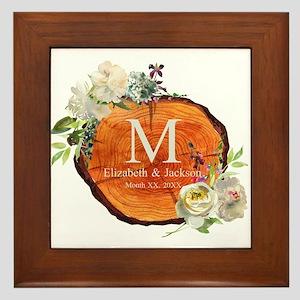 Floral Wood Wedding Monogram Framed Tile