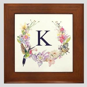 Hummingbird Floral Wreath Monogram Framed Tile