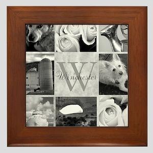 Elegant Photo Block and Monogram Framed Tile
