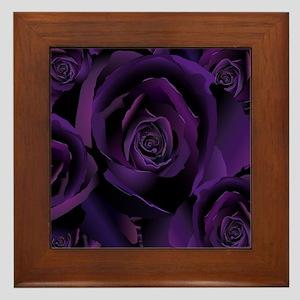 Black Purple Rose Framed Tile