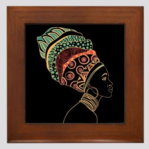 African Woman Framed Tile