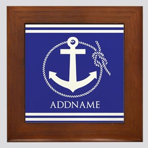 Blue Nautical Rope and Anchor Personal Framed Tile