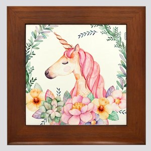 Pink Unicorn Framed Tile