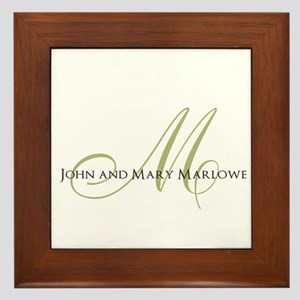 Names and Monogrammed Initial Framed Tile
