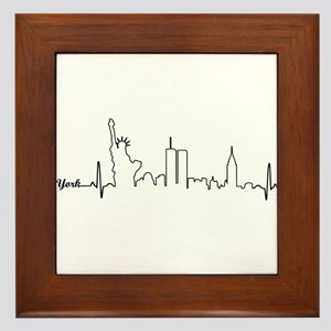 New York Heartbeat Letters Framed Tile