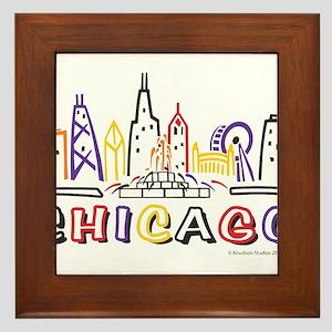 Chicago Fun Skyline Framed Tile