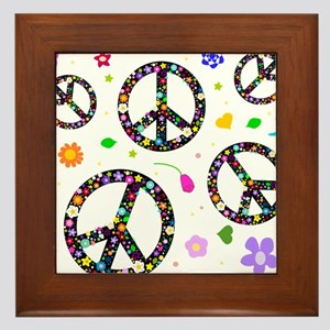 Peace symbols and flowers pat Framed Tile