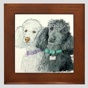 Two Poodles Framed Tile