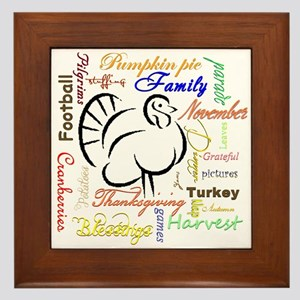 Thanksgiving words Framed Tile