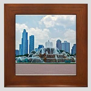 Fountain in Grant Park Chicago Framed Tile
