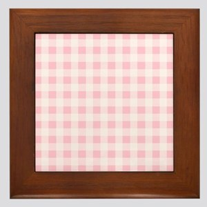 Pink Gingham Checkered Pattern Framed Tile