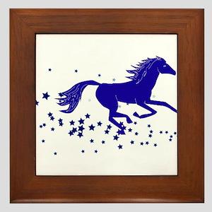 Blue Stars Pony Framed Tile
