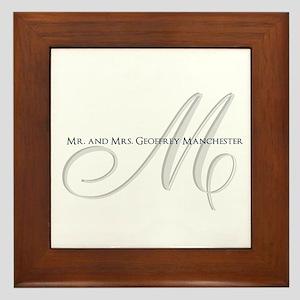 Elegant Name and Monogram Framed Tile