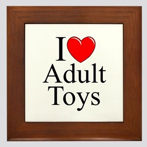 """I Love (Heart) Adult Toys"" Framed Tile"