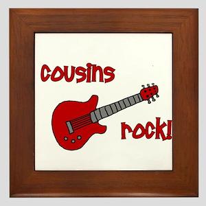 Cousins Rock! red guitar Framed Tile