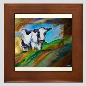 Cow! Bright, animal art! Framed Tile